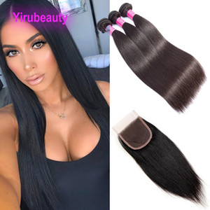 Brazilian Virgin Hair Extensions 3 Bundles With 4X4 Lace Closure Straight Cheap Hair Wefts With Lace Closure 8-30inch