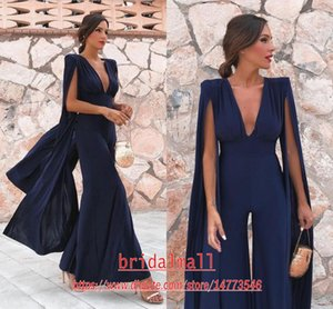 Wholesale Women Jumpsuits Sexy Pleats Chiffon Dark Navy Evening Dresses With Long Cape Deep V Neck Formal Gala Reception Dress Lady Pant Suits
