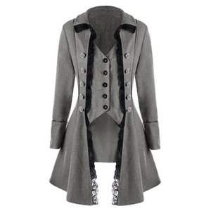 Wholesale LAAMEI Women Jacket Medieval Traditional Ladies Trench Coat British French Irregular Trenchcoat Costume Button Outerwear