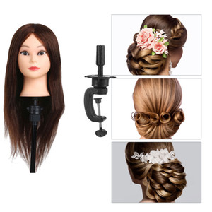 ingrosso le teste reali dei manichini dei capelli umani-100 Real Hair Hair Styling Mannequin Heads Acconciatura Hairdressing Dummy Hair Training Head Doll Doll Manichini femminili con supporto per morsetto