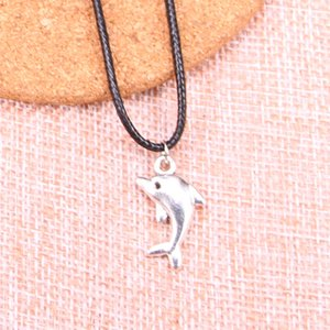 Wholesale New Durable Black Faux Leather Antique Silver mm lovely dolphin Pendant Leather Chain Necklace Vintage Jewelry Dropshipping