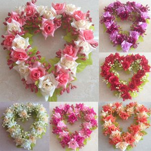 Wholesale Flower Wreaths cm Decoration Flower Ring Artificial Garland Heart Shaped Silk Cloth Color Wall DIY Hanging