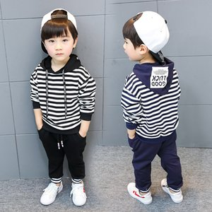 Wholesale 2019 black blue stripes Hooded Two piece set fashion male baby Children s wear Year old cm