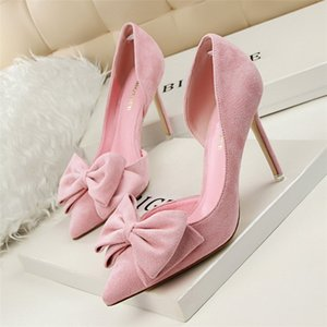 New Arrival Sweet Bowtie Shallow High Heels Shoes Pointed Fashion Women Pumps Side Cut-Outs Solid Flock Party Dress Shoes Woman