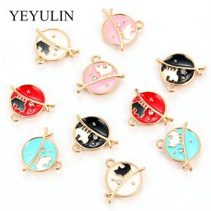Wholesale 10pcs Multi Color Cute Enamel Round Branch Cat Charms Pendant For Women Girls DIY Earrings Bracelet Jewelry Accessories
