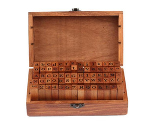 Wholesale wood works for sale - Group buy DHL set set Number and Letter Wood stamp Set Wooden Box Multi purpose stamp DIY funny work SN1958