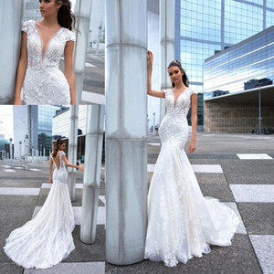 Wholesale Mermaid Beach Wedding Dresses V Neck Lace D Floral Applique Beading Backless Bridal Gowns Plus Size Bohemia Wedding Gown