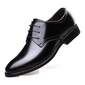Men's business dress shoes fashion Korean casual shoes men's black British round head tie banquet professional men's shoes