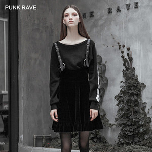 Wholesale PUNK RAVE Women s Gothic Black Velvet Skinny Collect Waist A Pendulum Strap Skirt Metal Decoration Personality Sling Skirt