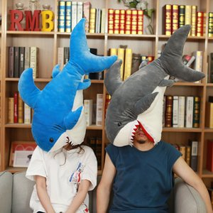 Wholesale 90cm Funny Toy Stuffed Ocean Animal Plush Big Simulation Lifelike Shark Doll For Children Kids Cushion Soft Toys Q190521