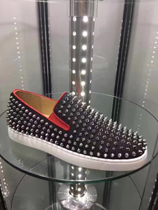 Wholesale leather boats resale online - Red Bottom Loafers Shoes Men Women Spiked Low Sneaker Genuine Leather Roller Boat Shoes Full Studded Rivets Casual Trainers