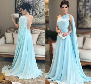 New Fashion One Shoulder Prom Dresses with Cape Arabic Dubai Backless Chiffon Formal Dresses Sweep Train Formal Evening Party Gowns Wear on Sale