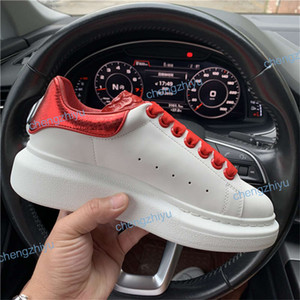 Wholesale 2019 Designer Luxury Red Black White Platform Classic Casual Shoes Leather Casual Shoes Dress Canvas Mens Womens Sports Sneakers size
