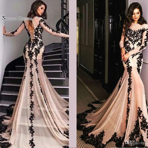 Wholesale Sexy Jewel Neckline Long Sleeves Prom Dresses Lace Up Back Black Appliques Party Dress Hot Sales