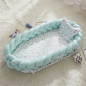 Wholesale Portable Baby Nest Bed Newborn Bionic Bed Crib Cot Sleeping Artifact Travel With Pillow Knot Long Bumper Baby Knotted Braid