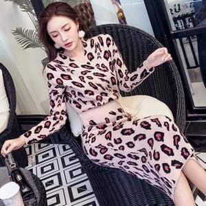 Wholesale Autumn and winter the latest Korean fashion temperament V neck slim fashion leopard knit dress
