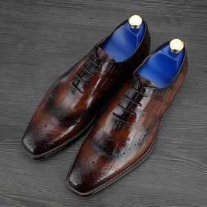 Wholesale new Crocodile Grain Brown Black Wedding Groom Mens Dress Shoes Genuine Leather Oxford Business Shoes Male Social Shoes
