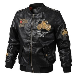 2019 Autumn Winter PU Leather Motorcycle Jacket Men Embroidery Pilot Retro Classic Fashion Tactical Leather Jacket Male Bomber Jacket Biker on Sale