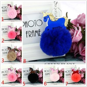 Wholesale Sequins Unicorn Fur Ball Keychain Pony Fur Ball Pendant Key Rings Women bag Accessorices Plush Key Holder Keyfob