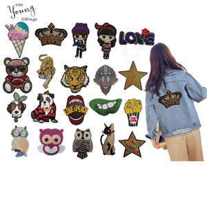 Wholesale New Big size Cartoon Animal Embroidery Applique Sew on Clothes DIY Sequin Lips star Iron on Patches stickers badges Accessories