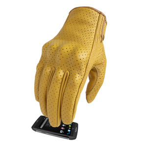 Motorcycle Gloves Leather Touch Screen Yellow Riding Cycling Drop Shipping Men's Full Finger Goatskin Leather for Man Cycling Wholesale