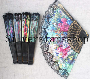 Black Lace Floral Folding Hand Fans 12pcs Suitable for Wedding Dancing Gifts