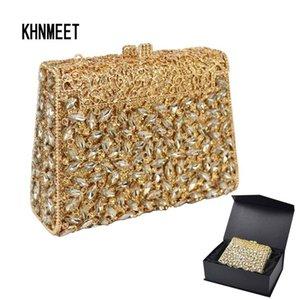 Hermosa caja de diseño de NUDILLO PLUMERO De Seda Marrón Bolso de embrague