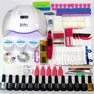 Manicure Set 12 Colors Gel Polish Base Top Coat Nail Kits 36w 48w 54w Uv Led Lamp Electric Manicure Handle Nail Art Tool