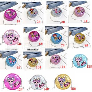 Wholesale 15styles Laser doll round bag mini cartoon little girl sequin bag shoulder crossbody chain bag princess party travel gift pu bags FFA2557