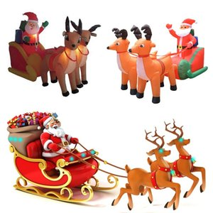 Wholesale outdoor christmas decor for sale - Group buy 210cm Giant Inflatable Santa Claus Double Deer Sled LED Lighted Outdoor Christmas Decor New Year Decor Xmas Props Ornaments