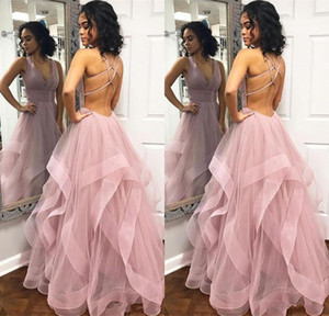 Wholesale Sexy Criss Cross Back Evening Dresses Backless Tulle Long Prom Dress Custom Made Tiered Skirt Party Gowns