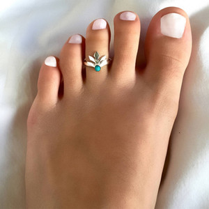 Vintage Blue Bead Leaf Toe Rings Women Fashion Summer Jewelry Wholesale Simple Gold Silver Plated Glossy Open Adjustable Alloy Foot Rings on Sale