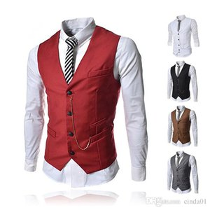 Wholesale Men Business Vests Formal Men s Waistcoat Fashion Groom Tuxedos Wear Bridegroom Vests Casual Slim Vest Custom Made With Chain