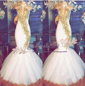 Wholesale 2019 Sexy Gold lace Mermaid Prom Dresses halter zipper Back Sequined Formal Evening Gowns Sparkly Ruched custom made Celebrity Party Dresses