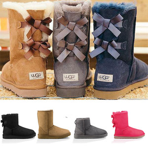 Wholesale 2020 Fashion Brand U Designer Women Ankle Boots Mini Australia Classic Knee Tall Winter Snow Boots Gg Luxury Bailey Bow Girls Shoes