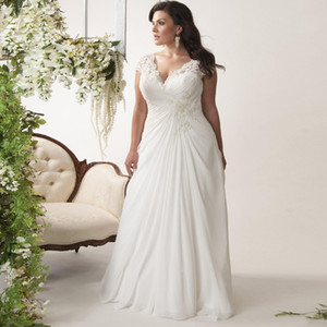 Wholesale Beaded Cap Sleeve Pleated Plus Size Wedding Dress Sheath Applique Summer Chiffon Beach Bridal Gowns Hollow Boho V Neck Vestido de Noiva