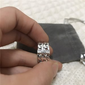 Top Fashion designer 925 silver Nightclub YS Hip hop jewelry vintage antique silver hand-made Hip hop men and woman L Brand rings gift