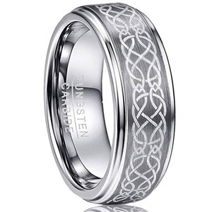 Wholesale celtic knot band ring resale online - Men s mm Laser Celtic Knot Brushed Tungsten Carbide Wedding Band Rings Polished Step Edge Size