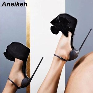Wholesale Aneikeh Sexy Pumps Shoes Woman Fetish Ultra High Heels For Women Platform Stripper Bowknot Buckle Pumps Party Shoes Thin Heels