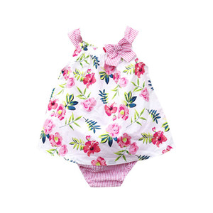 Summer new baby girl clothes Newborn Outfits floral tank Tops+bows Ruffle Shorts Baby Suit Infant sets baby girl designer clothes A4552