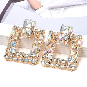 Wholesale New Colorful Crystals Square Metal Dangle Drop Earrings High Quality Fashion Rhinestone Jewelry Accessories For Women