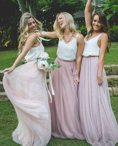 Wholesale 2019 Cheap Hot Sale Long Tulle Skirt Bridesmaid Dresses Floor Length A-Line Prom Party Skirt Maid Of Honor Dresses