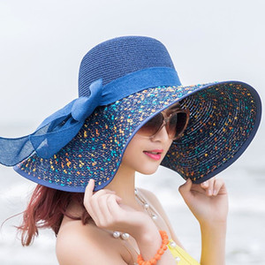 Sequins Women beach straw hats Floppy Sun Hat with Big Bowknot Ladies Wide Brim Straw Hats Outdoor Foldable roll up Beach cap