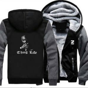Wholesale 2Pac Thug Life Printed Designer Panelled Sweatshirts Hip Hop Casual Cardigan Hoodies Male Thick High Street Pullover