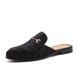 Wholesale Men s Suede Leather Open Back Slip On Dress Slippers On Backless Velvet Loafers Lazy Person Half Shoe for Men Size