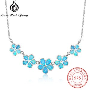 Wholesale 925 Sterling Silver Jewelry Female Chains Necklaces Pendants for Women Decorating Blue Opal Flower Valentine s Day Gifts