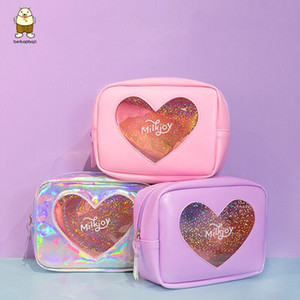 Wholesale Beibaobao Women Cosmetic Cases Bling Diamonds Hologram Heart Girl PU Make up Bag Case Travel Toiletry Bags Pouch Storage Bag