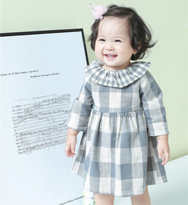 Wholesale Sweet Girls Ruffle Collar Plaid Dresses Spring Kids Boutique Clothing Korean Y Little Girls Long Sleeves Dresses