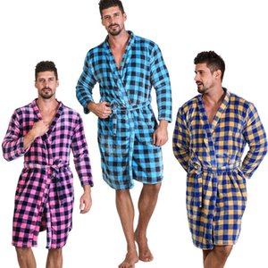7 Colors Unisex Loose Buffalo Plaid Bathrobes Soft Flannel Gown Plaid Long Sleeve Nightgown Warm Winter Robes Kids Pajamas CA11650-1 10pcs
