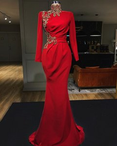 Wholesale Red Stain Gold Luxury Detail Evening Pageant Dresses 2020 Modern High Neck Long Sleeve Mermaid Plus Size Prom Formal Wear Gown
